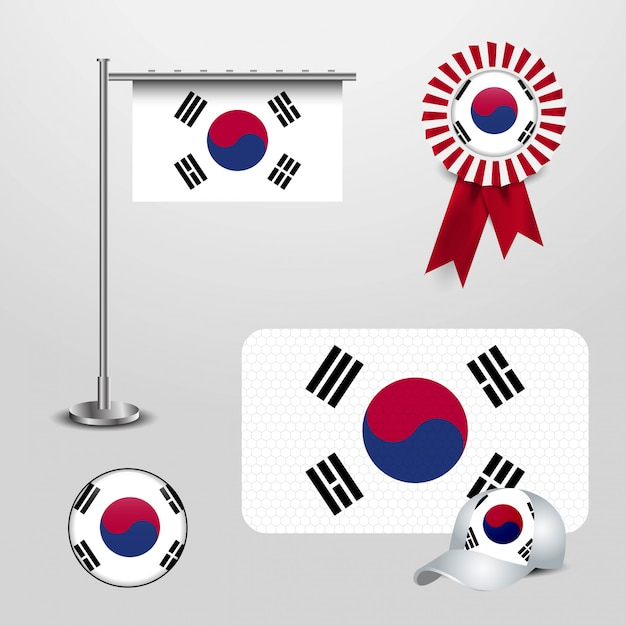 Südkorea-markierungsfahne Premium Vektoren