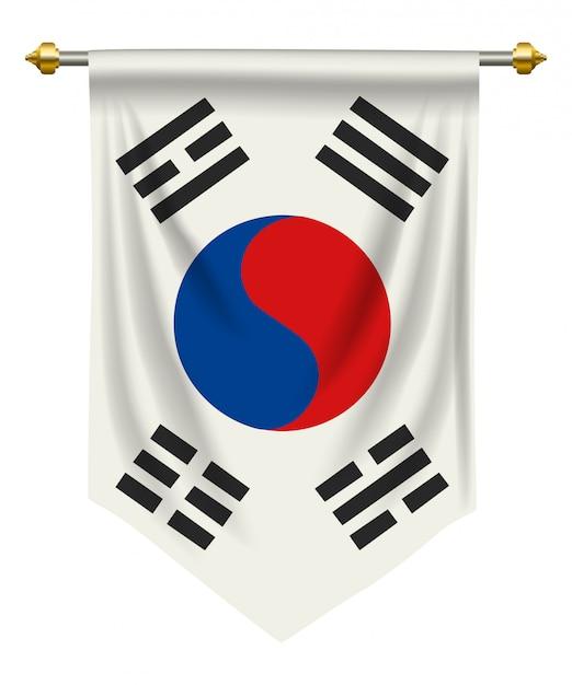 Südkorea-wimpel Premium Vektoren