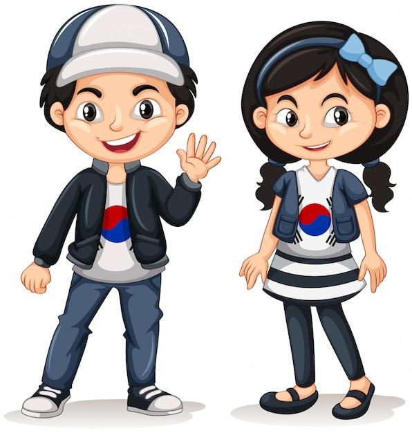 Südkoreanischer junge und mädchen Kostenlosen Vektoren