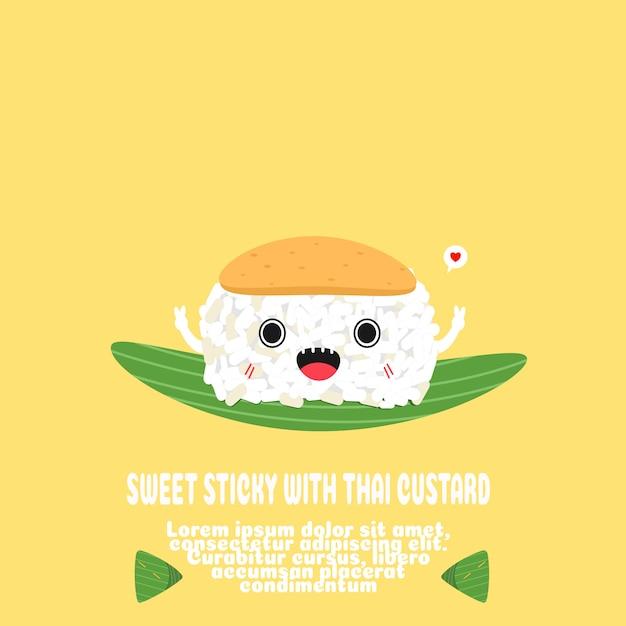 Süß klebrig mit thai pudding cartoon.traditionelle dessert .banana blatt paket. Premium Vektoren