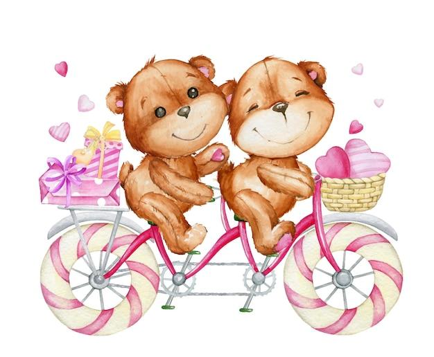 Süße bären, die fahrrad fahren. aquarell Premium Vektoren