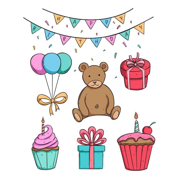 Süße bärenpuppe in geburtstagsfeier mit cupcake und geschenkbox Premium Vektoren