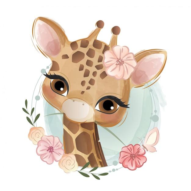 Süße blumige giraffe Premium Vektoren