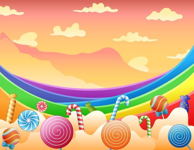 Süße bonbons und regenbogen am himmel Premium Vektoren