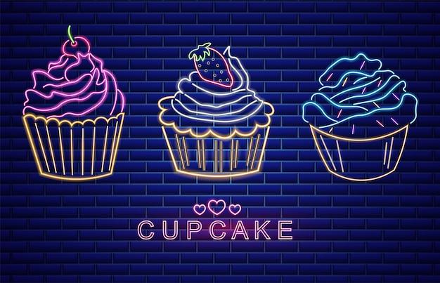 Süße cupcakes setzen neonsymbole Premium Vektoren