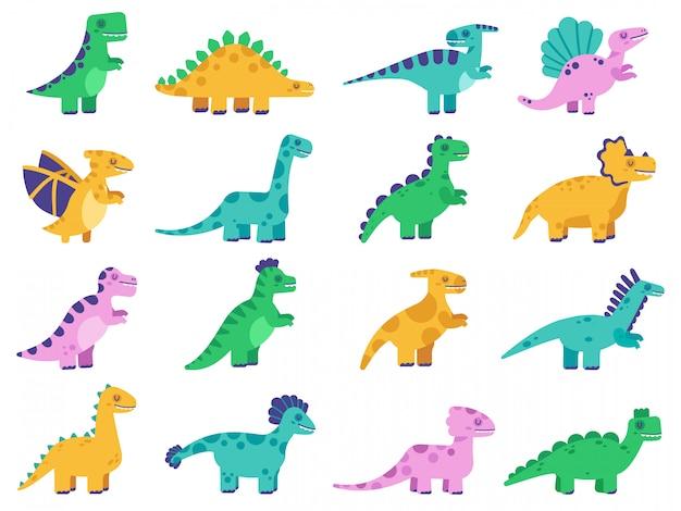 Süße dinosaurier. hand gezeichnete comic-dinosaurier, lustige dino-figuren, tyrannosaurus, stegosaurus und diplodocus-illustrationssatz. dinosaurier tier, triceratops dino Premium Vektoren