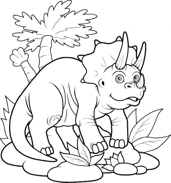 Süße dinosaurier triceratops Premium Vektoren