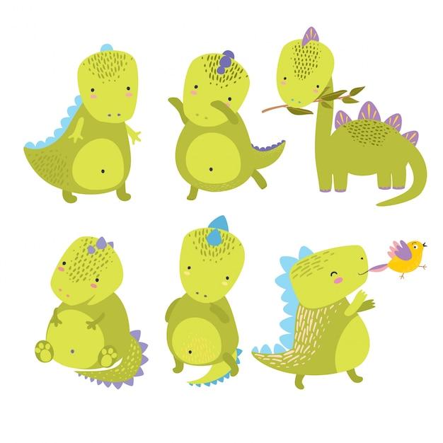 Süße dinosaurier Kostenlosen Vektoren