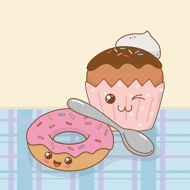 Süße donuts und cupcake kawaii-figuren Premium Vektoren