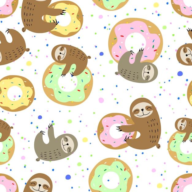 Süße faultier mit süßen donuts Premium Vektoren