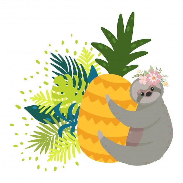 Süße faultiere auf der gelben ananas, umgeben von tropischen blättern. Premium Vektoren