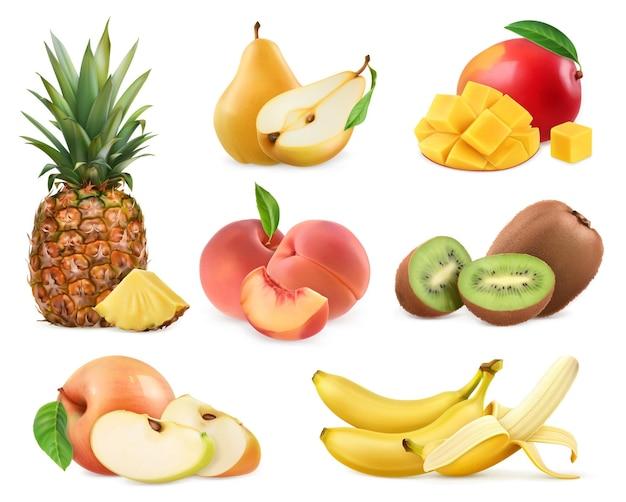 Süße frucht. banane, ananas, apfel, mango, kiwi, pfirsich, birne. Premium Vektoren