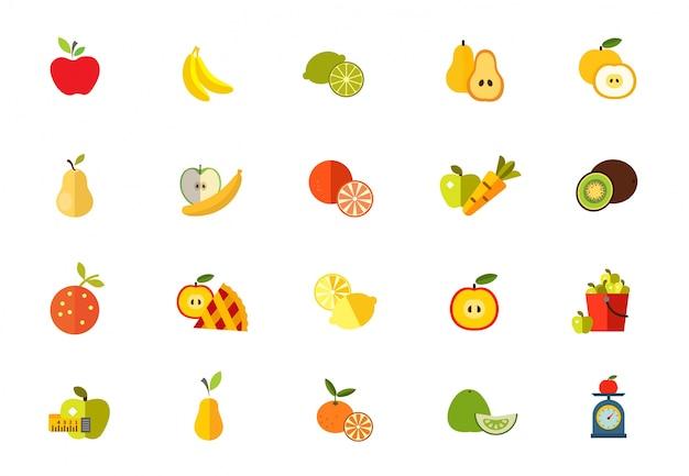 Süße früchte icon-set Kostenlosen Vektoren