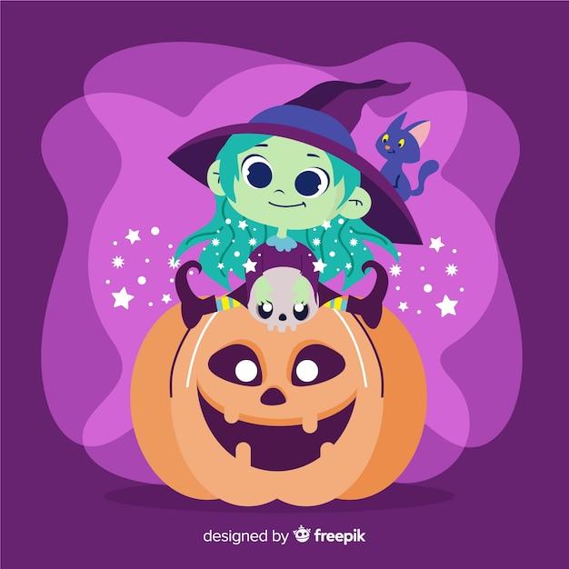 Süße halloween hexe auf kürbis Kostenlosen Vektoren
