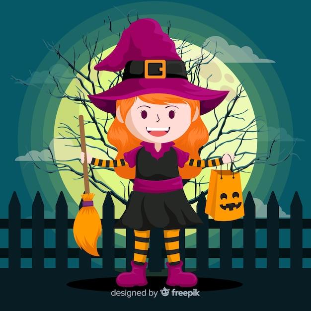 Süße halloween hexe mit besen Kostenlosen Vektoren
