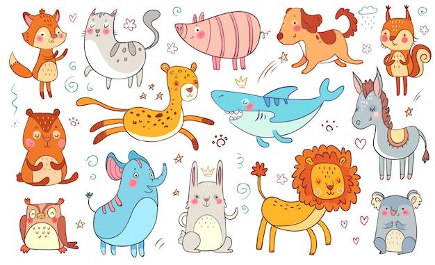 Süße handgezeichnete tiere. tierische lustige gekritzelkatze der freundschaft, dekorativer entzückender fuchs und lokalisierter illustrationssatz des babybären Premium Vektoren