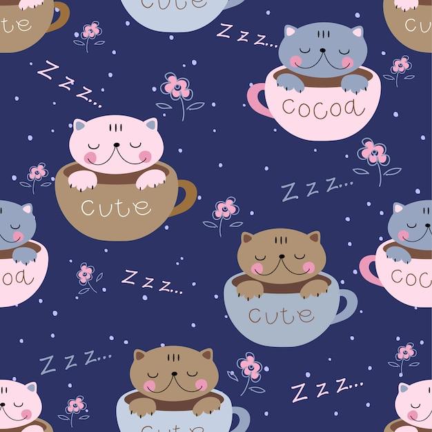 Süße kätzchen schlafen süß in bechern Premium Vektoren