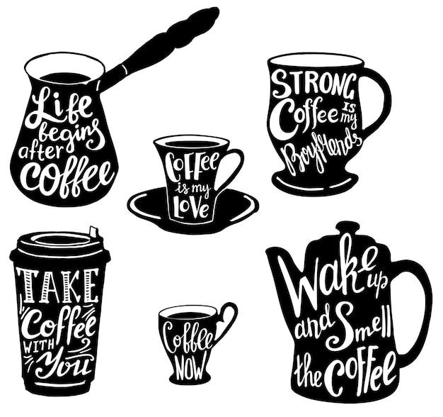 Süße kaffee zitate und sprüche typografie festgelegt Premium Vektoren