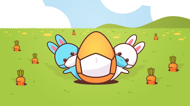 Süße kaninchen mit ei tragen maske, um coronavirus glücklich ostern hasen aufkleber zu verhindern Premium Vektoren