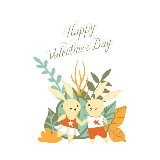 Süße kaninchen - valentinstag Kostenlosen Vektoren