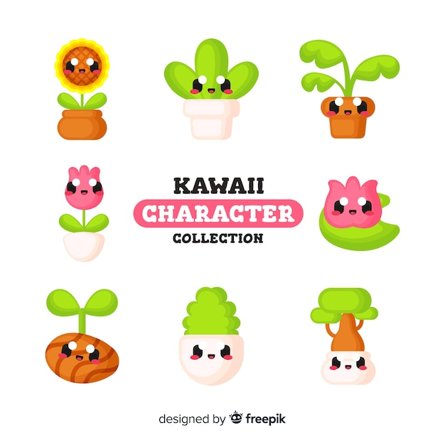 Süße kawaii-figuren Kostenlosen Vektoren