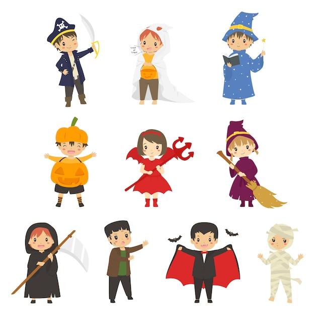 Süße kinder in halloween-kostümen. halloween-zeichensatz Premium Vektoren