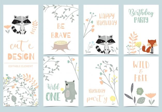 Süße kinderpostkarten mit dschungel Premium Vektoren