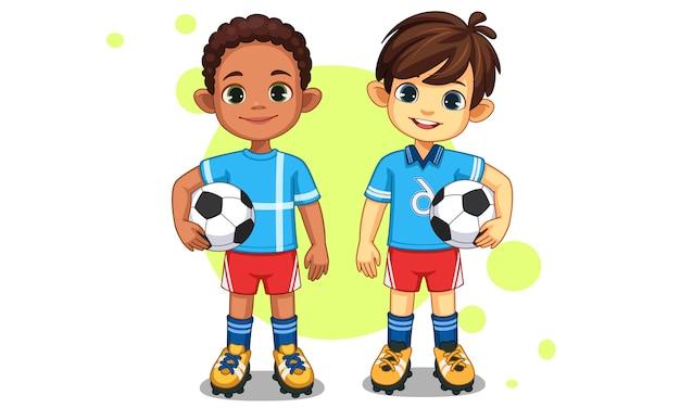 Süße kleine fußballspieler Premium Vektoren
