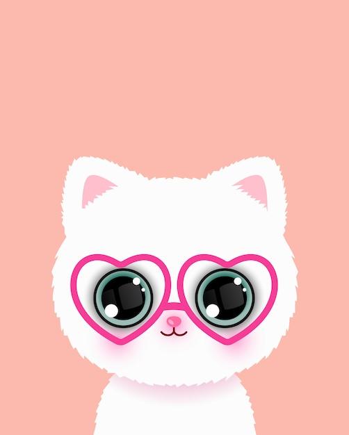 Süße kleine katze in gläsern Premium Vektoren