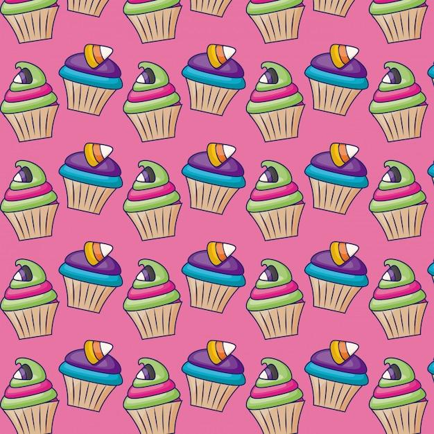 Süße kleine kuchen mit süßigkeitmuster Kostenlosen Vektoren