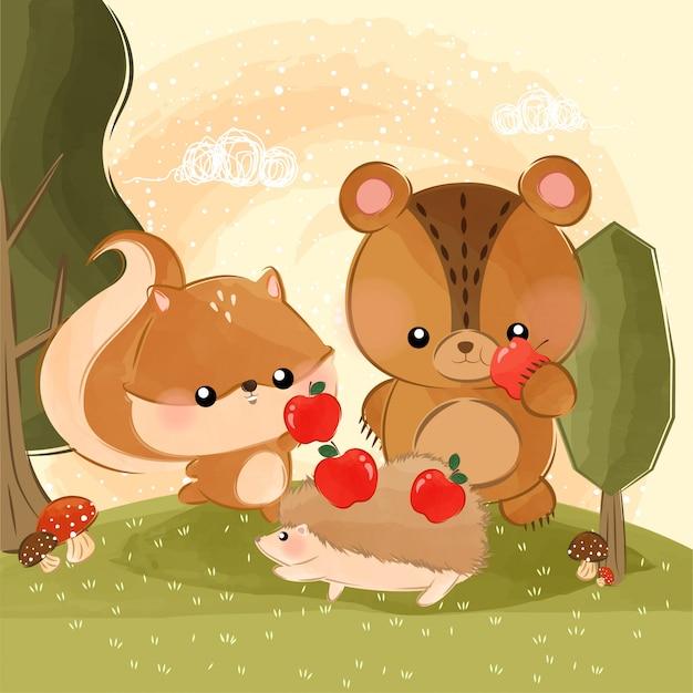 Süße kleine tiere essen äpfel Premium Vektoren