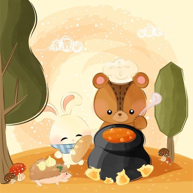 Süße kleine tiere machen kürbissuppe Premium Vektoren