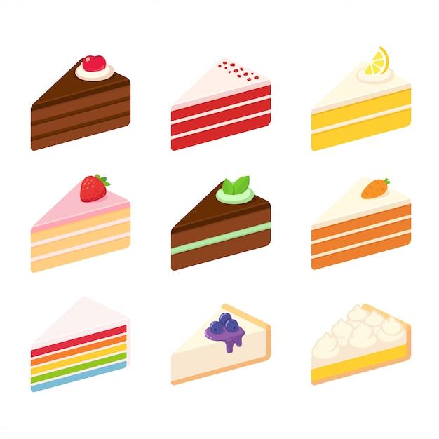 Süße kuchen eingestellt Premium Vektoren
