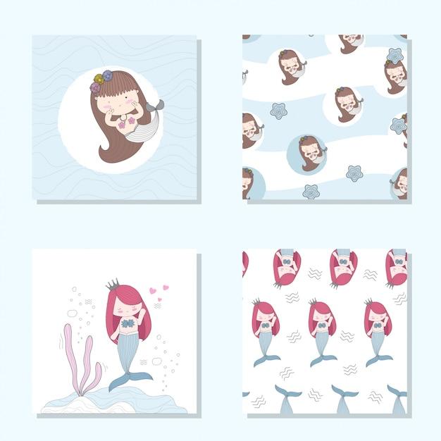 Süße meerjungfrau cartoon set nahtlose muster Premium Vektoren