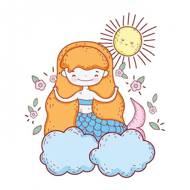 Süße meerjungfrau mit blumen in der wolke Premium Vektoren
