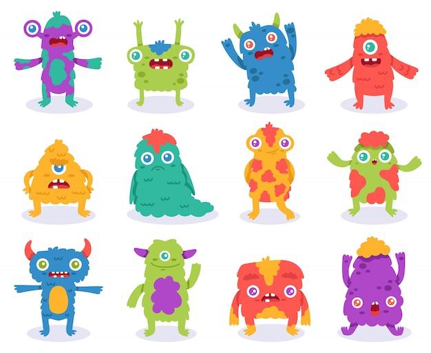 Süße monster. halloween-cartoon-monsterfiguren, lustige flauschige kreatur, gremlin oder alien, gruselige monster-maskottchenillustration. flauschiges comic-maskottchen, fröhliches lächeln fremd Premium Vektoren