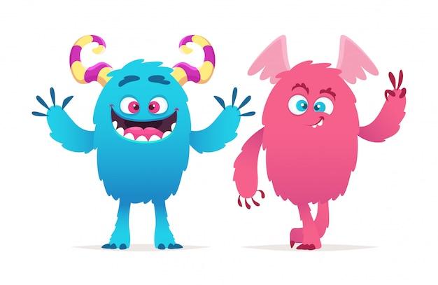 Süße monster. karikatur jungen und mädchen monster illustration. halloween charaktere Premium Vektoren