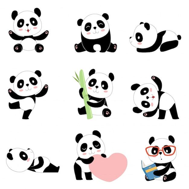 Süße panda-charaktere. neugeborenes glückliches pandaspielzeugmaskottchen des chinesischen bären lokalisiert Premium Vektoren