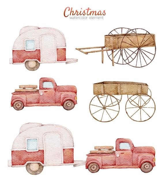 Süße rote autoaquarell-handmalerei der weihnachtskarikatur Premium Vektoren