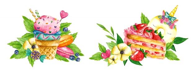 Süße sammlung. süßwarenaquarellnahrung. illustrationen von kuchen, eis, kuchen, keksen, keksen, süßigkeiten Premium Vektoren