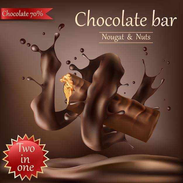 Süße schokoriegel mit geschmolzener schokolade Kostenlosen Vektoren
