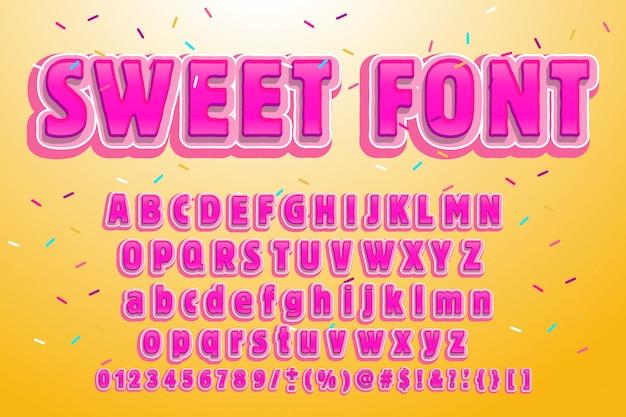 Süße schrift. rosa buchstaben. lutscherbeschriftung. süßigkeitsalphabet. Premium Vektoren