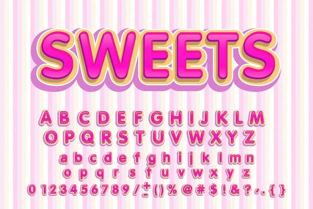Süße schrift. rosa buchstaben. süßes alphabet. Premium Vektoren
