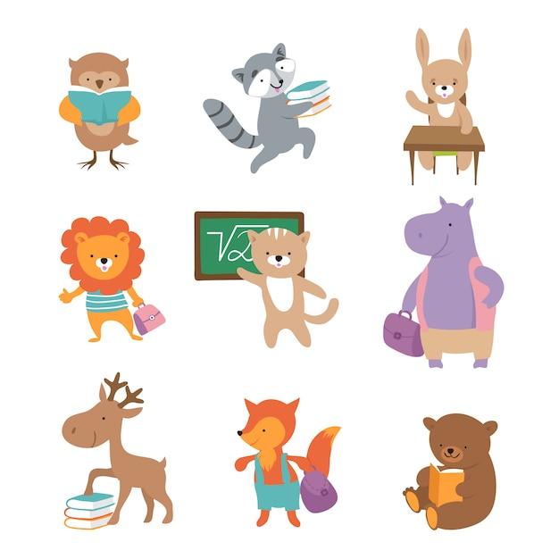 Süße schultiere. bär waschbär löwe hase flusspferd fuchs, schüler mit büchern und rucksäcken. back to school charaktere Premium Vektoren
