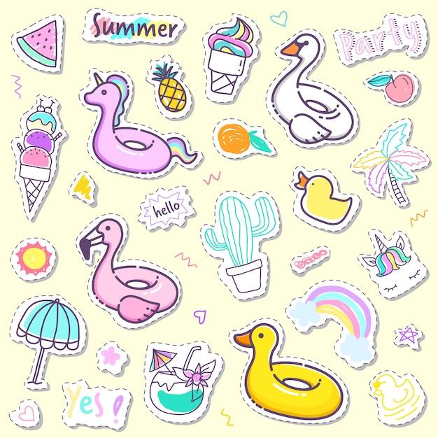 Süße sommer-sticker-kollektion in pastellfarbe Premium Vektoren