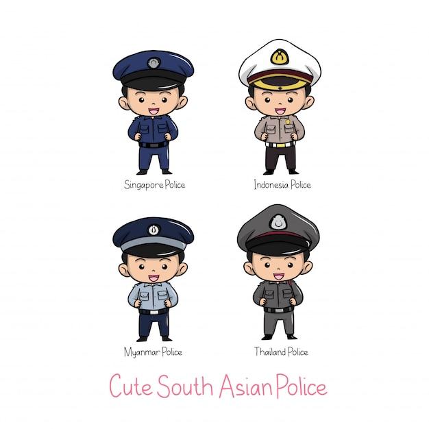 Süße südasiatische polizeiuniform Premium Vektoren