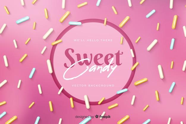 Süße süßigkeit mit köstlichem zuckerkonfetti Kostenlosen Vektoren