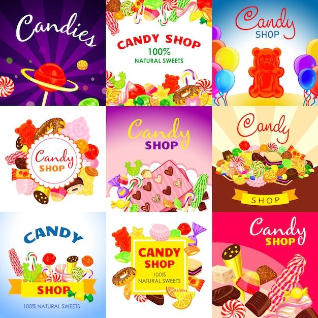 Süße süßigkeiten banner gesetzt. karikaturillustration der süßen süßigkeitsvektorfahne stellte für webdesign ein Premium Vektoren