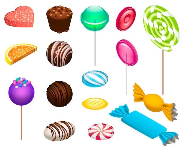 Süße süßigkeiten-icon-set. isometrischer satz süße süßigkeitsvektorikonen für das webdesign lokalisiert Premium Vektoren