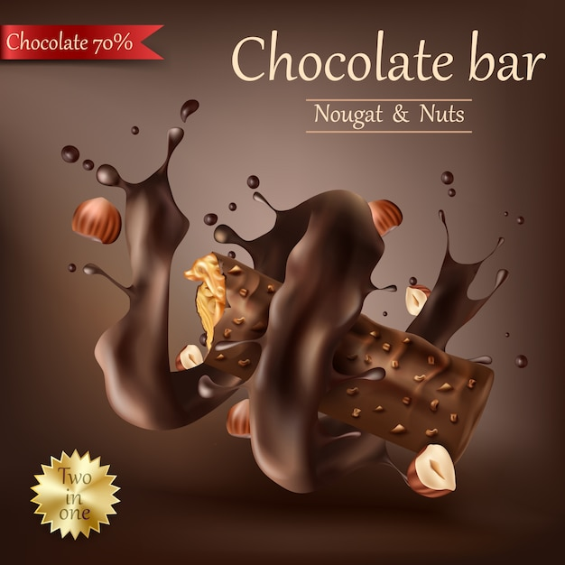 Süße tafel schokolade mit geschmolzener schokolade Kostenlosen Vektoren